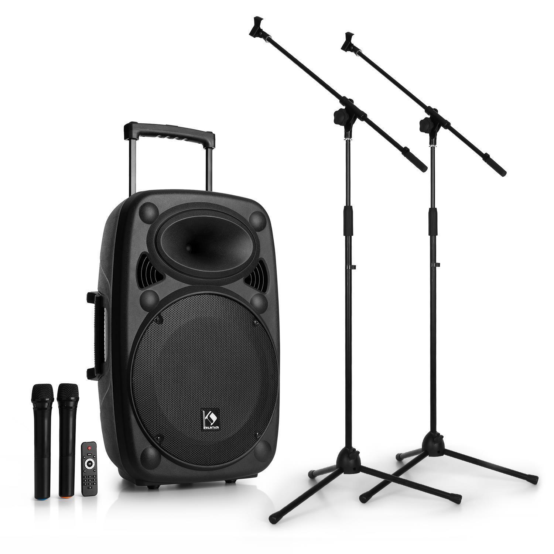 Equipo de sonido PA transportable 2x Set de micrófono inalambrico Equipo PA 15