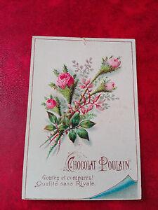 Superbe-Chromo-Chocolat-Poulain-Fleurs-Roses