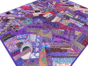 Indian-Quilt-Patchwork-Purple-Sari-King-Paisley-Vintage-Patches-India-Bed-Cover