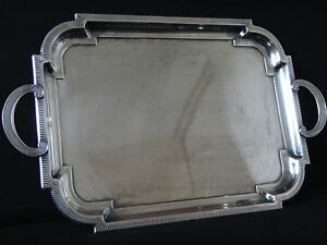 Superbe-grand-plateau-Art-deco-poincon-metal-argente-Old-tray-silver-plated-1930