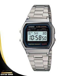 Orologio-Digitale-Unisex-Casio-A158WA-1DF-in-Acciaio-Vintage-Sveglia-Argento