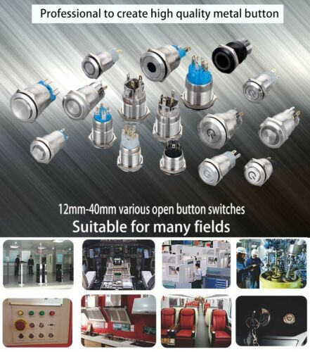 12mm high head ring stainless steel press waterproof metal button touch switch