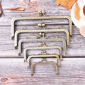 Guo Fa 10PCS Lotus Head Coin Purse Frame Metal Bag Kiss Clasp Handle for Bag Sewing Craft Square Bronze 8.5CM