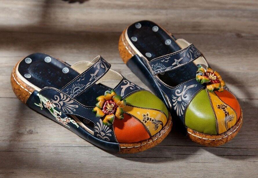 handgefertigte  echt Leder Sandalen   Sandaletten Clogs Schuhe  Sandalen bunt Gr. 39 8efb46