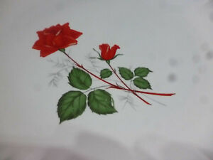 Lot-6-assiettes-Digoin-Sarreguemines-modele-034-Sevigne-034-fleurs-034-ROSE-Rouge-034-TBE