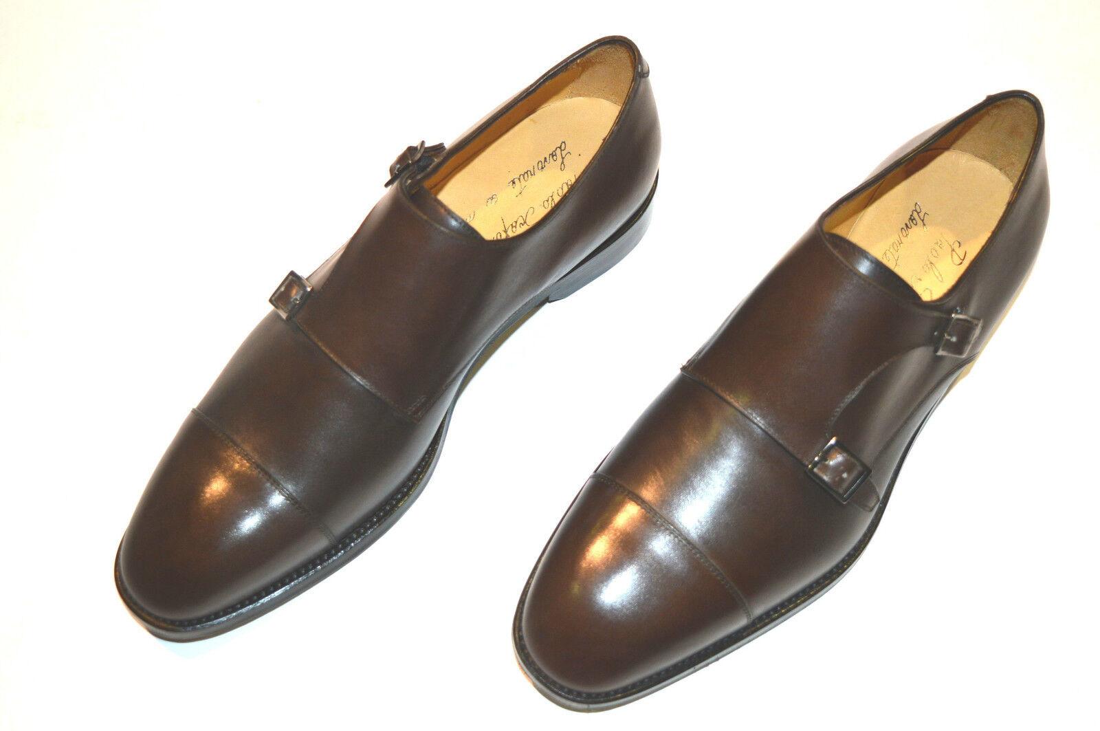 New PAOLO SCAFORA Pelle Monk Strap Shoes Size Eu 41 Uk 7 Us 8 Cod 3