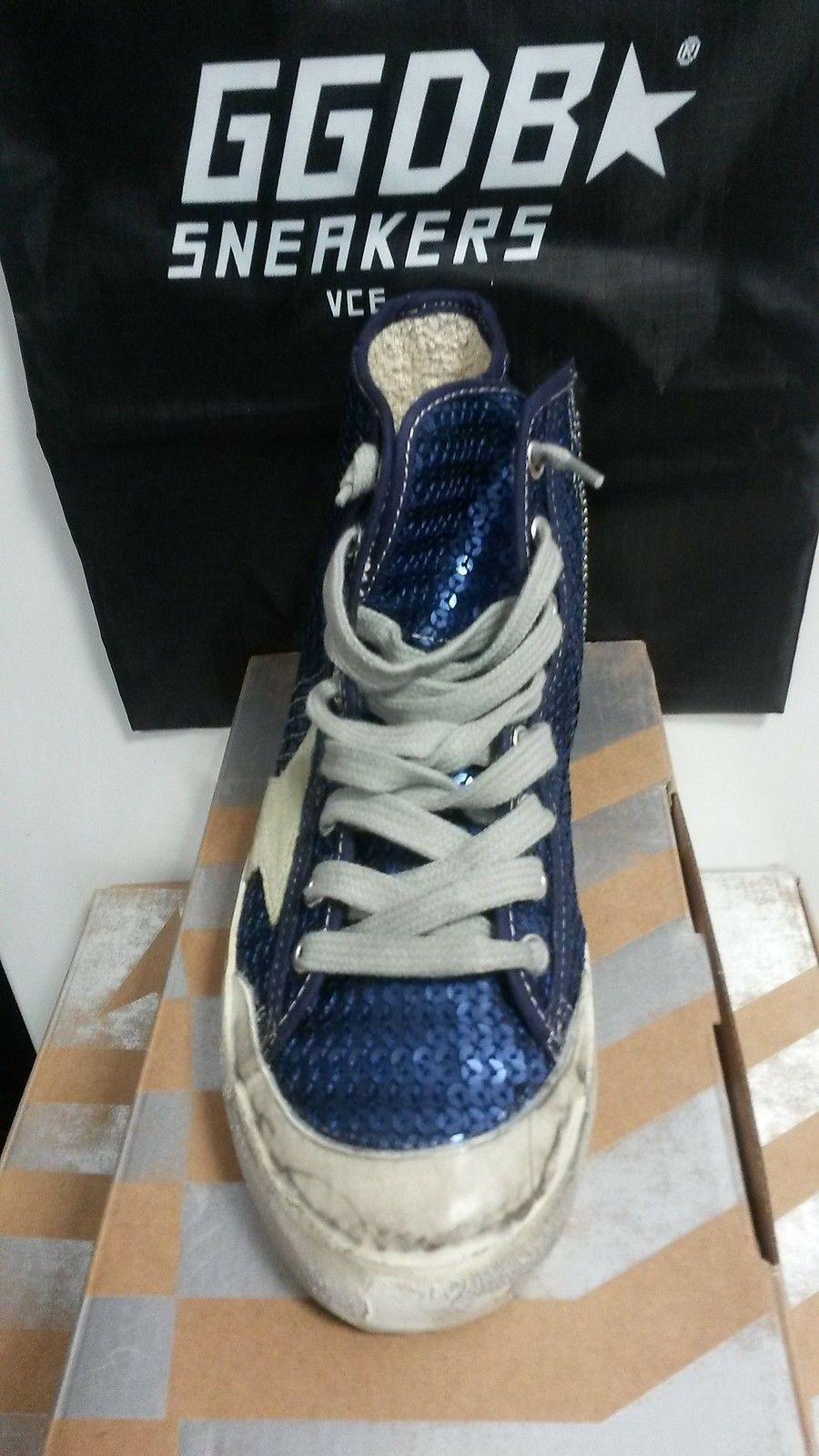 ORIGINAL G24D120P4 GOLDEN GOOSE SNEAKERS Francy G24D120P4 ORIGINAL Paillettes Bleu Encre 35 *NEUF* b9e5c0