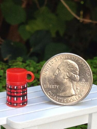 Miniature Dollhouse FAIRY GARDEN Accessories ~ TINY Red Plaid Thermos NEW