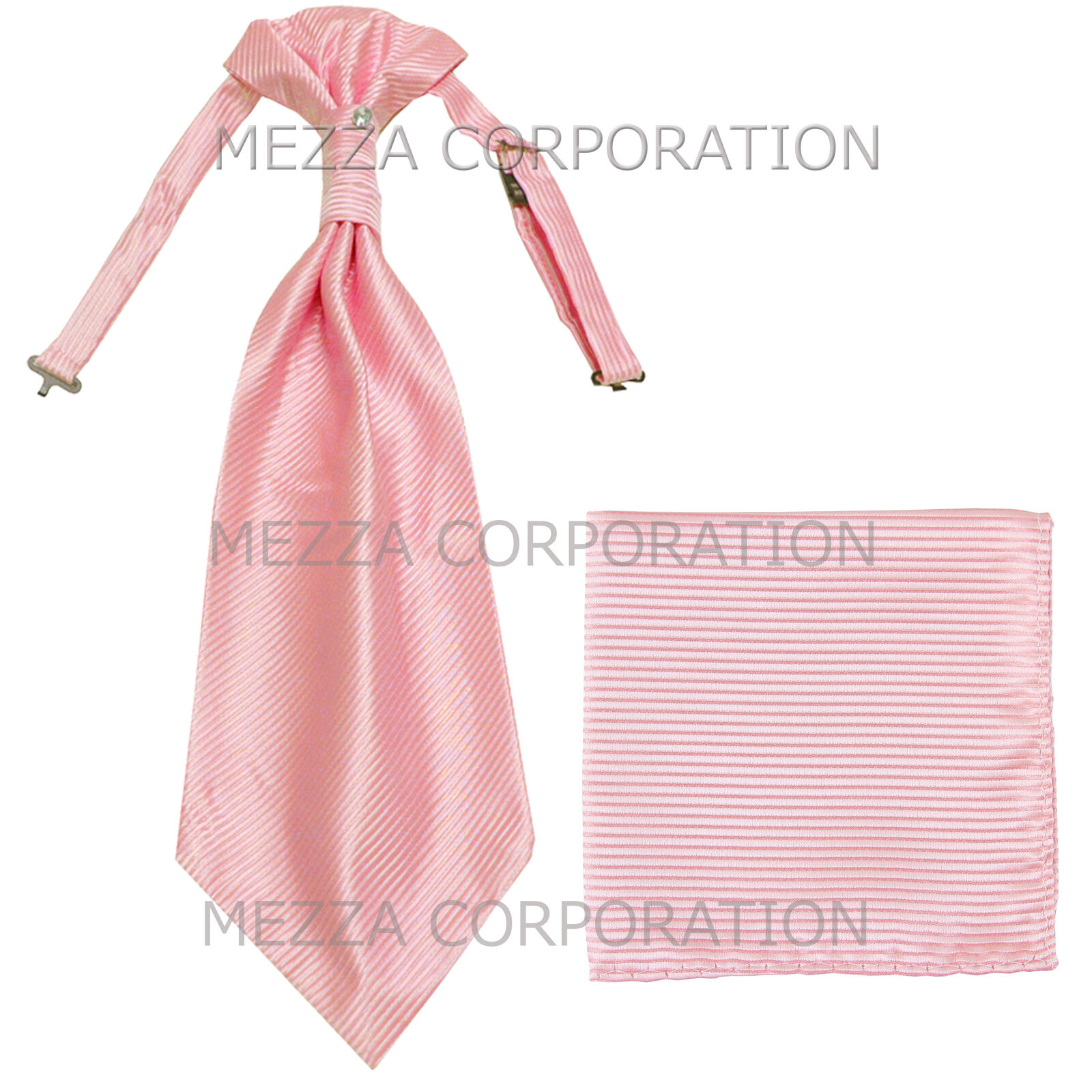 New 100% Polyester Men's Horizontal Stripes Ascot Cravat Hankie Party Pink