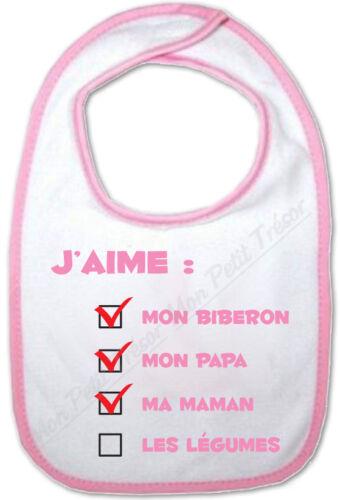 Bavoir Rose Bébé Questionnaire j/'aime pas les légumes cadeau de naissance