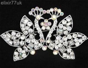 NEW-LARGE-3-2-034-SILVER-DOUBLE-PEACOCK-FLOWER-BROOCH-DIAMANTE-CRYSTAL-PARTY-BROACH
