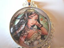 Princess Fairy Pocahontas tattoo Indian glass pendant necklace jewelry fantasy