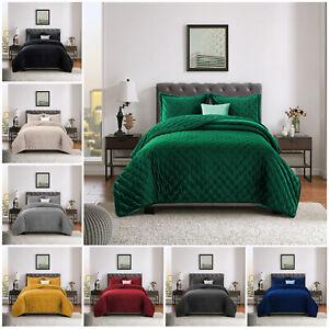 De-Lujo-Crushed-Velvet-Acolchado-Colcha-Doble-King-size-bed-tirar-sistemas-del-lecho