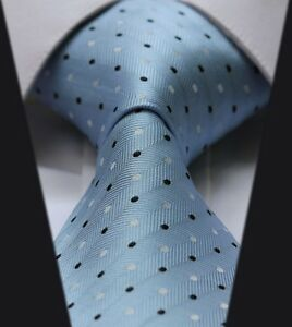 Light-Blue-With-White-amp-Navy-Dots-Silk-Classic-Woven-Horse-Show-Tie-New