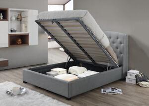 Signature Fabric Ottoman Storage Bed Frame King Size Grey Elegant