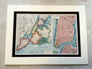 Antico Mappa Stampa New York Manhattan Brooklyn Bronx Queens Arte Vintage