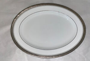 Vintage-Noritake-China-Encrusted-Oval-Serving-Plate-034-MAJESTIC-PLATINUM-4291-034