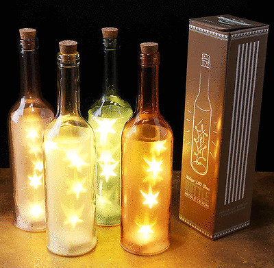Wedding Table Decor Coloured Glass Bottle w// LED Star Lights Night Light NEW