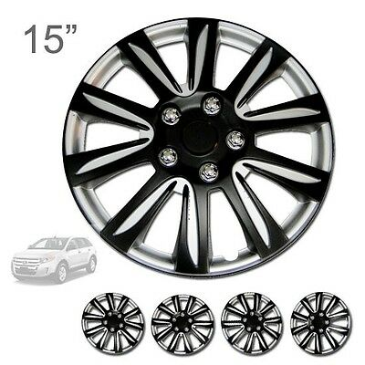 """FOR FORD NEW 15"""" ABS BLACK RIM LUG STEEL WHEEL HUBCAPS COVER 546"""