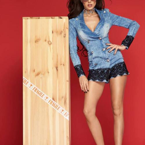 By Alina Damenoverall Jumsuit Jeans Overall Blazer Hosenanzug Hosenrock XS-M