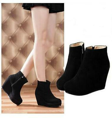 Women Genuine Suede Leather Side Zipper Wedge Platform Martin Ankle Boots