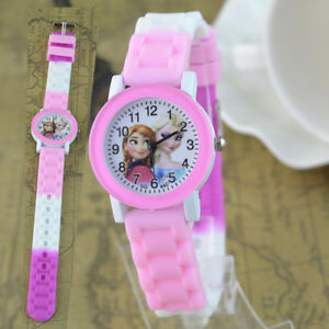Disney-Frozen-Elsa-amp-Anna-Children-Girls-Kids-Child-Quartz-Pink-Wrist-Watch-Gift