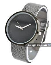 men's designer black steel tone modern business watch steel mesh bracelet