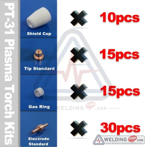 PT-31 plasma cutter torch consumable kit Tip Electrode Shield cup Gas ring 70PCS