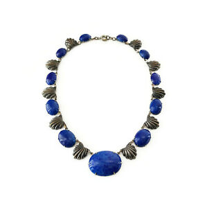 Art-Deco-Silver-Pot-Metal-Lapis-Glass-Choker-Statement-Necklace