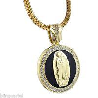 Virgin Mary 48mm Round Pendant La Virgen De Guadalupe Gold Tone 36 Franco Chain