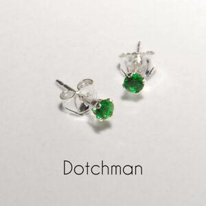 925-Sterling-Silver-2-5MM-Emerald-Green-Stud-Earrings
