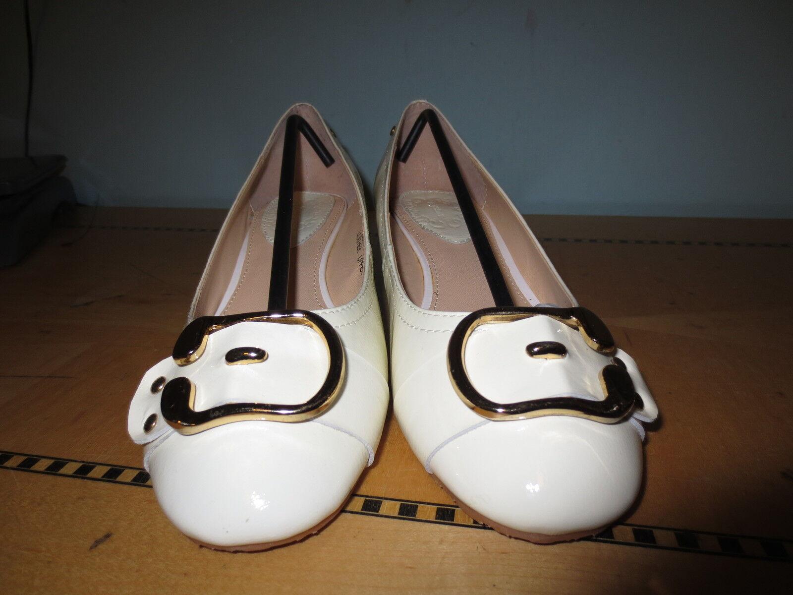 New retro style Weiß Brady patent low wedge shoe buckle toe sz 8.5 Brady Weiß 60's 2c2582