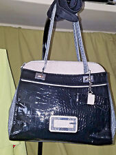 GUESS -  Faux-Patent-Leather  two-tone Handbag - sold as-is