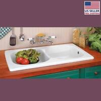Kitchen Drop-in Counter Sink Italian Porcelain Double Basin | Renovator's Supply on Sale