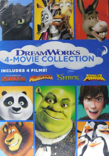 4 Dreamworks Classics Shrek Kung Fu Panda Madagascar How To Train