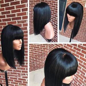 Elegant-Soft-Remy-Brazilian-Human-Hair-Bob-Wig-Glueless-Straight-Bangs-Full-Wig