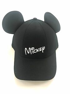 Image is loading Disney-Mickey-Mouse-Baseball-with-Ears-Black-Mens- 27dd1a1c58d