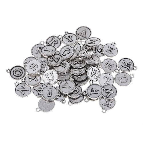 52Pcs Antique Silver Tone Alphabet Letter Charms Pendant DIY Necklace Crafts