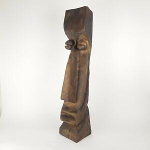 Witco Tiki Sculpture Head Moai 3FT Bar Decor 2 Sided Face Totem Hawaiiana Wood