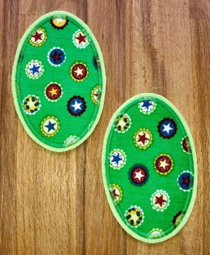 Applikation 2 Aufnäher grün Patch Knieflicken Flicken Hosenflicken Sterne
