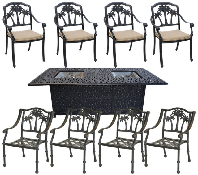 Propane Fire Pit Table Set Patio Furniture 8 Palm Tree Dining Chairs  Sunbrella - Propane Fire Pit Table Set Patio Furniture 8 Palm Tree Dining Chairs