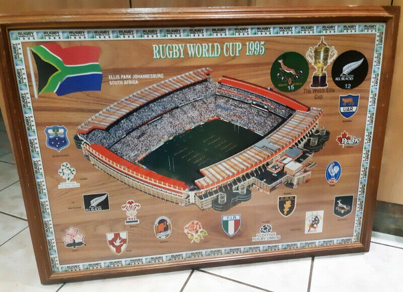 Big 92 cm x 67 cm official Rugby world Cup Final 1995-Ellis Park scene framed on bord and glass