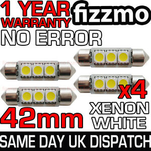 4x-42mm-NUMBER-PLATE-INTERIOR-6000k-BRIGHT-WHITE-3-SMD-LED-C5W-264-FESTOON-BULB