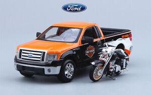 Maisto 1:27 Pickup Truck for Ford+1:24 Moto For Hary Diecast Static Car Model