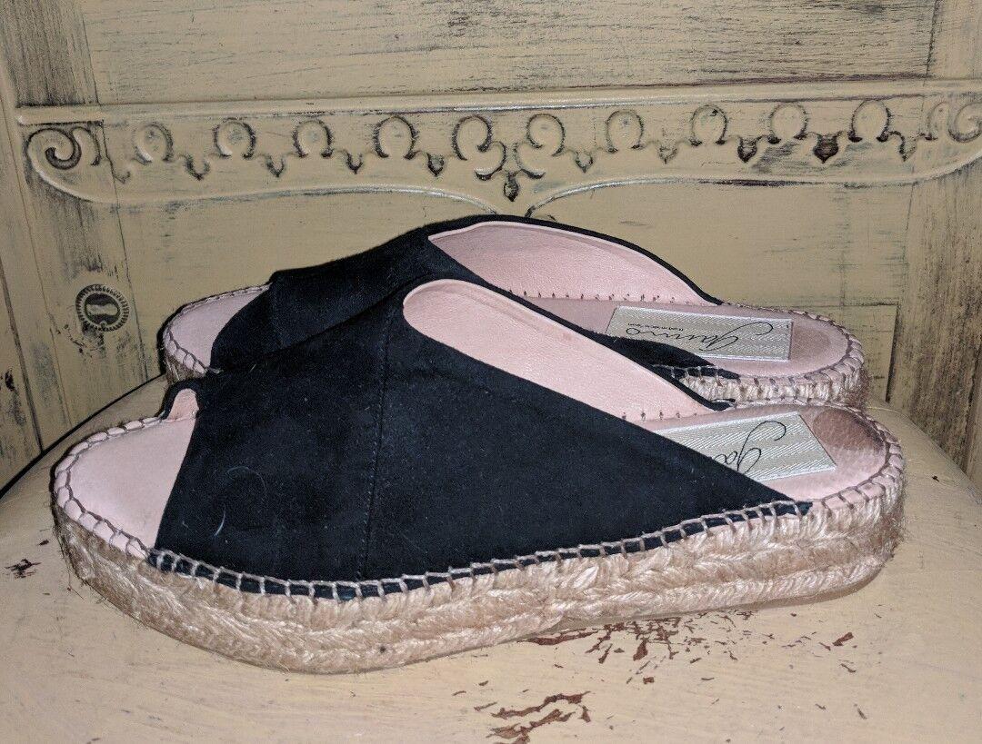 GAIMO ESPADRILLES SPAIN BLACK SUEDE OPEN TOE SANDALS Schuhe WEDGE LOW PLATFORM Schuhe SANDALS 7 4f17c3