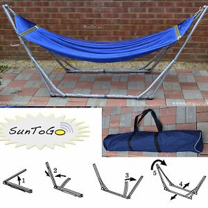 image is loading portable folding hammock  steel stand camping outdoor travel  portable folding hammock steel stand camping outdoor travel swing      rh   ebay co uk
