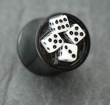 Kunststoff Plug WÜRFEL Old School Dice Piercing 10MM Ohrring