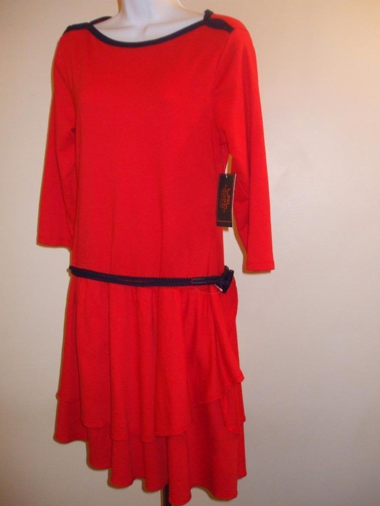 Ralph Lauren Jeans  Belted Ruffle Drop Waist Dress Red  Navy NWT