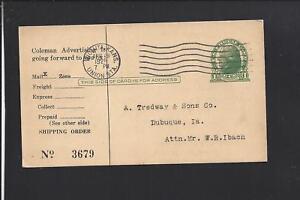 WICHITA-UNION-STA-KANSAS-1921-GOVERNMENT-POSTAL-CARD-ADVT-THE-COLEMAN-LAMP-CO