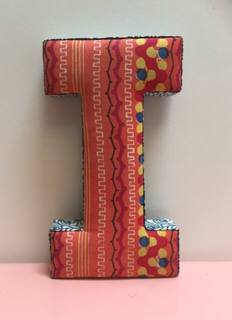 ANTHROPOLOGIE Floral Stripe Quilted Fabric Hanging Wall Decor Letter ...